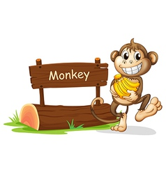 A monkey holding bananas vector image vector image