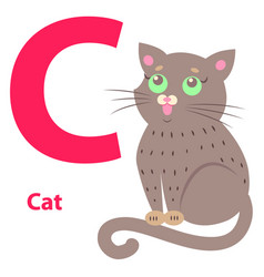 alphabet for letter c with cute cat vector image vector image