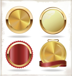 badges of gold and red seal set vector image