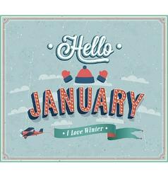 Hello january typographic design vector image vector image