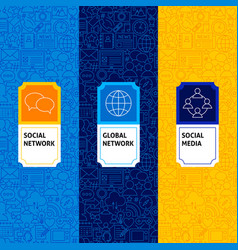 Line social media package labels vector