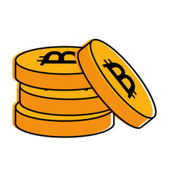 pile bitcoins isolated icon vector image vector image