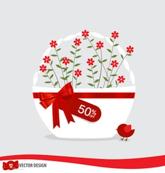 Basket with flowers and sale tags vector image