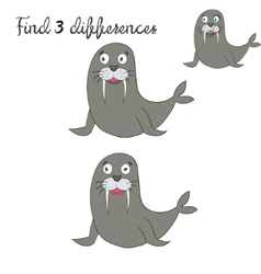Find differences kids layout for game seal vector image vector image