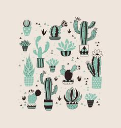 hand drawn cactus card vector image vector image