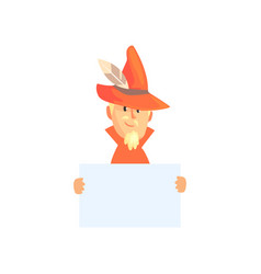 Huntsman holding blank banner man character with vector