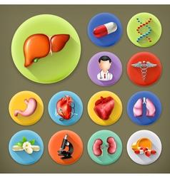 Medicine and Health long shadow icon set vector image