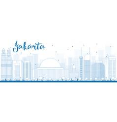Outline Jakarta skyline with blue landmarks vector image