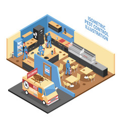 pest control in cafe isometric vector image vector image