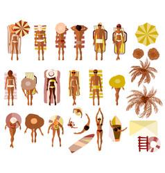 set of sunbathing people on the summer beach vector image vector image