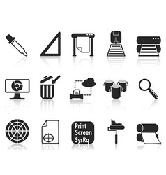 Print icons set vector
