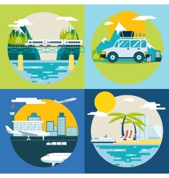 Retro planning summer vacation tourism and journey vector
