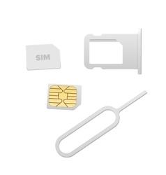 Small Nano Sim Card Sim Card Tray and Eject Pin vector image