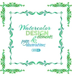 watercolor page decorations vector image