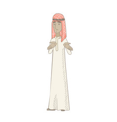 young muslim man shrugging shoulders vector image vector image