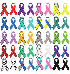 A set awareness ribbons different colors vector