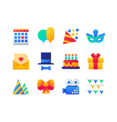 birthday party - set flat design style icons vector image