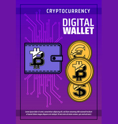bitcoin cryptocurrency digital blockchain wallet vector image