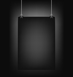 Black vertical poster template hanging on clips vector