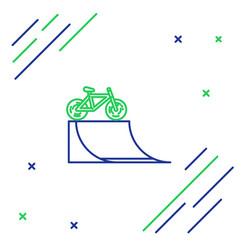 Blue and green line bicycle on street ramp icon vector