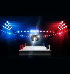boxing ring arena and floodlights design vector image