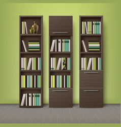 Brown wooden bookcases vector