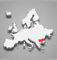 bulgaria country location within europe 3d map vector image