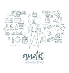 Business concept auditing man audit sketch vector