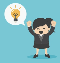 Business Woman get the idea happy vector image