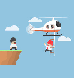 Businessman across the cliff by helicopter vector