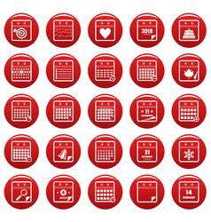 calendar icons set vetor red vector image