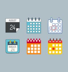 calendar web icons office organizer vector image