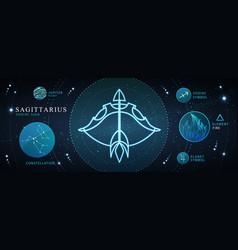 Card with astrology sagittarius neon zodiac sign vector