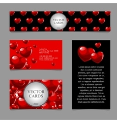 Cards with volumetric texture of hearts vector