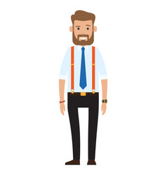 Cartoon a handsome young bearded vector