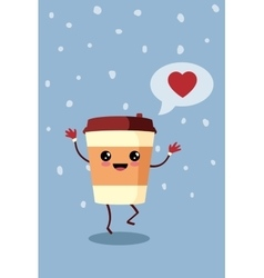 Cartoon comic coffee paper cup vector image