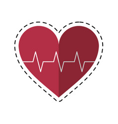 Cartoon heart pulse rhythm cardio vector