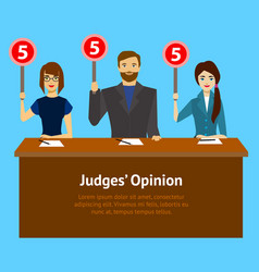 Cartoon judges jury characters card poster vector