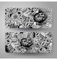 Cartoon line art doodles cafe banners vector