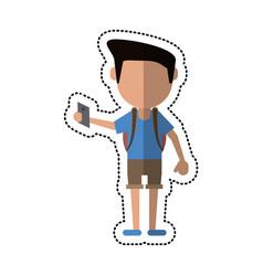 cartoon man tourist holding passport vector image