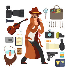Cartoon surveillance detectives with equipment vector