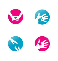 Child care logo set silhouette in circle vector