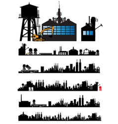 City and Old Factory silhouette vector