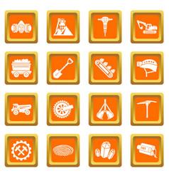 Coal mine icons set orange square vector