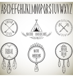 Collection tribal design elements and alphabet vector