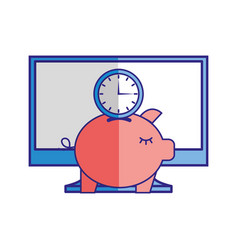 computer piggy bank clock time vector image