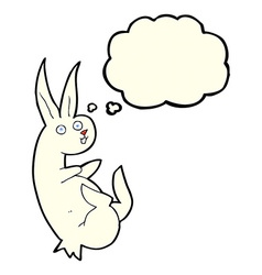 cue cartoon rabbit with thought bubble vector image