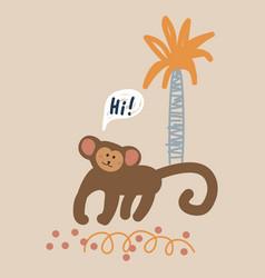 cute cartoon monkey childish vector image