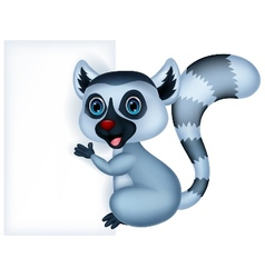 Cute lemur cartoon holding blank sign vector