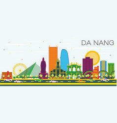 Da nang vietnam city skyline with color buildings vector